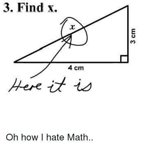 Memes, Math, and 🤖: 3. Find x.  4 cm  Here is Oh how I hate Math..