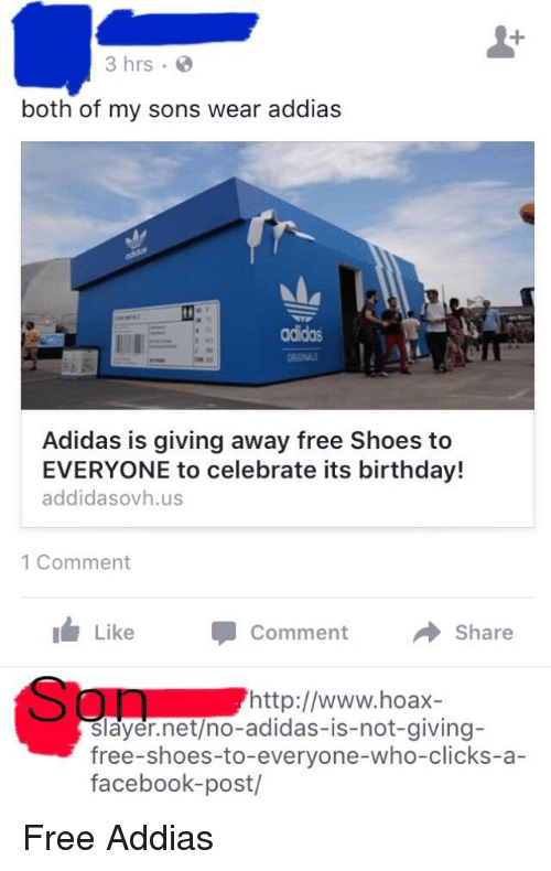 adidas giving away free chaussures to celebrate birthday