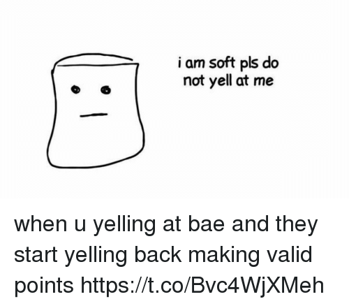 Bae, Girl Memes, and Back: 3  i am soft pls do  not yell at me when u yelling at bae and they start yelling back making valid points https://t.co/Bvc4WjXMeh