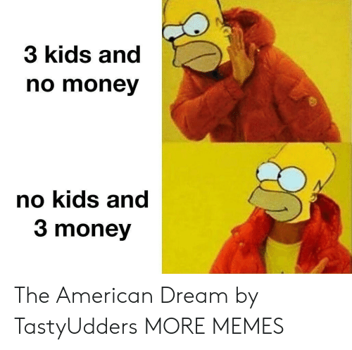 Dank, Memes, and Money: 3 kids and  no money  no kids and  3 money The American Dream by TastyUdders MORE MEMES