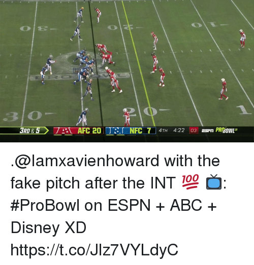 Abc, Disney, and Espn: 3 o .@Iamxavienhoward with the fake pitch after the INT 💯  📺: #ProBowl on ESPN + ABC + Disney XD https://t.co/Jlz7VYLdyC