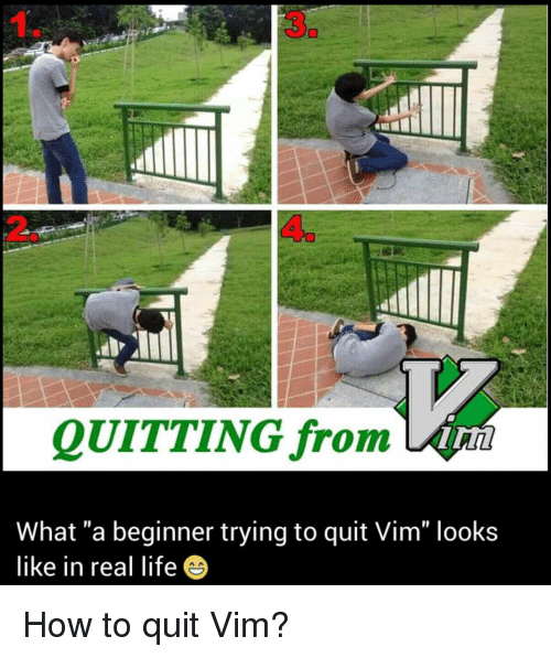 "Life, How To, and How: 3  QUITTING from  What ""a beginner trying to quit Vim"" looks  like in real life How to quit Vim?"