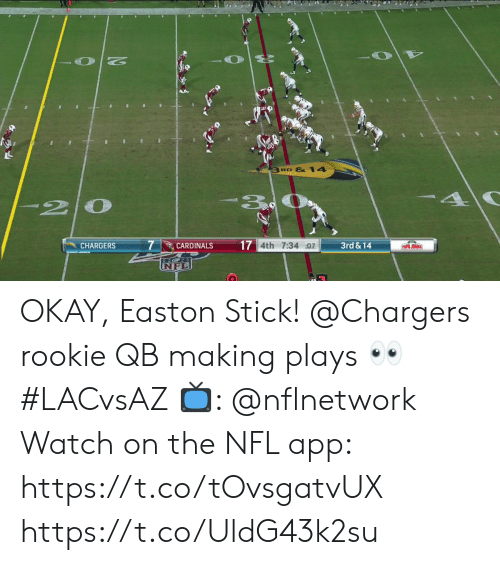 Memes, Nfl, and Cardinals: 3 RD &14  20  7  17 4th 7:34 :07  3rd&14  CHARGERS  CARDINALS  PAPA JOHNS OKAY, Easton Stick!  @Chargers rookie QB making plays 👀 #LACvsAZ  📺: @nflnetwork Watch on the NFL app: https://t.co/tOvsgatvUX https://t.co/UldG43k2su