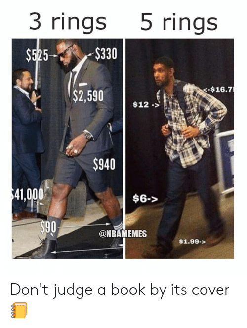 Nba, Book, and Judge: 3 rings 5 rings  $525$330  -$16.7  $2,59012.>  $940  41,000  $6->  90  @NBAMEMES  $1.99-> Don't judge a book by its cover 📒