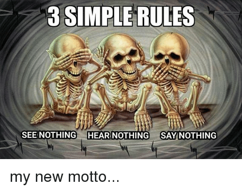 Memes, 🤖, and Simple: 3 SIMPLE RULES  SEE NOTHING  HEAR NOTHING  SAY NOTHING my new motto...