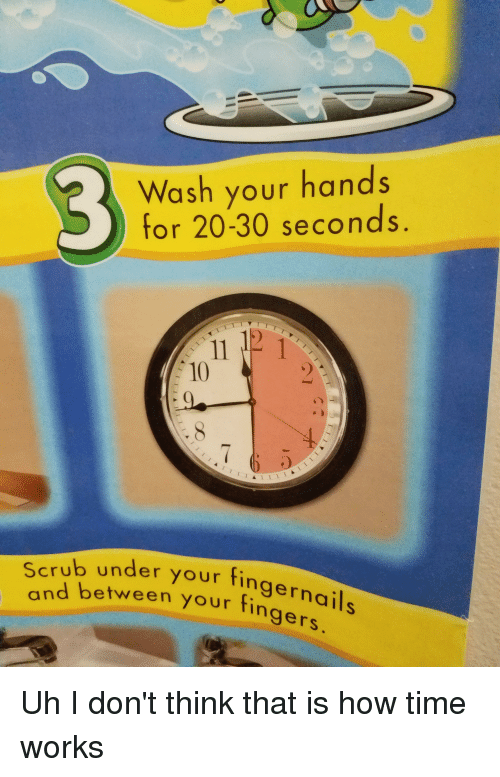 Facepalm, Time, and How: 3  Wash your hands  for 20-30 seconds.  10  Scrub under your finge  nd between your fin  gers