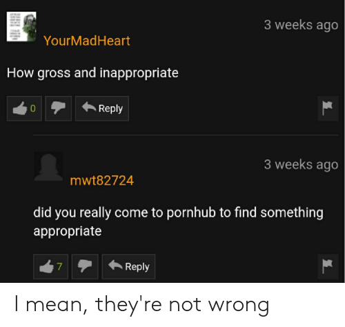 Pornhub, Mean, and How: 3 weeks ago  YourMadHeart  How gross and inappropriate  3 weeks ago  mwt82724  did you really come to pornhub to find something  appropriate  7  Reply I mean, they're not wrong