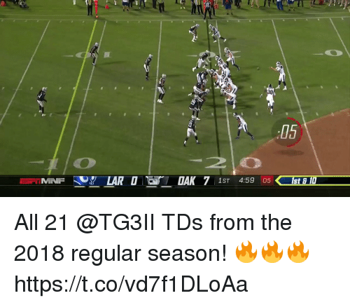 Memes, 🤖, and Tds: 30  05  20  MINF Y LARDDAK 7 1ST 459 08 All 21 @TG3II TDs from the 2018 regular season! 🔥🔥🔥 https://t.co/vd7f1DLoAa