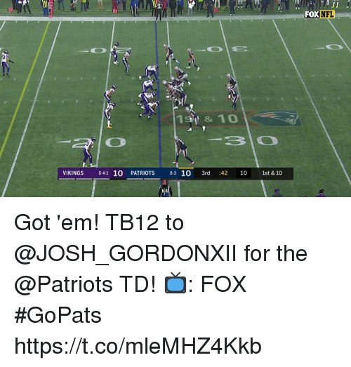 Memes, Nfl, and Patriotic: 30  FOX  NFL  19 & 10  VIKINGS 6-41 10 PATRIOTS 8-3 10 3rd :42 10 1st & 10 Got 'em!  TB12 to @JOSH_GORDONXII for the @Patriots TD!  📺: FOX #GoPats https://t.co/mleMHZ4Kkb