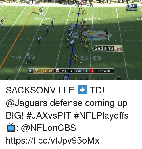 Memes, Nfl, and 🤖: 30  O NFL  AFC DIVISIONAL  St  JAX 21  PIT 72ND 2:33 3 2ND & 10 SACKSONVILLE ➡️ TD!  @Jaguars defense coming up BIG! #JAXvsPIT #NFLPlayoffs   📺: @NFLonCBS https://t.co/vtJpv95oMx