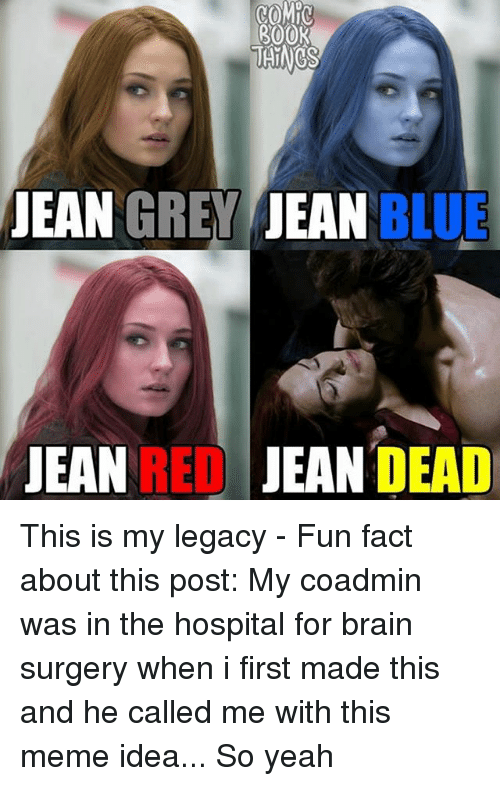 Brains, Meme, and Memes: 300K  JEAN  GREY JEAN BLUE  JEAN REDJEAN DEAD This is my legacy - Fun fact about this post: My coadmin was in the hospital for brain surgery when i first made this and he called me with this meme idea... So yeah