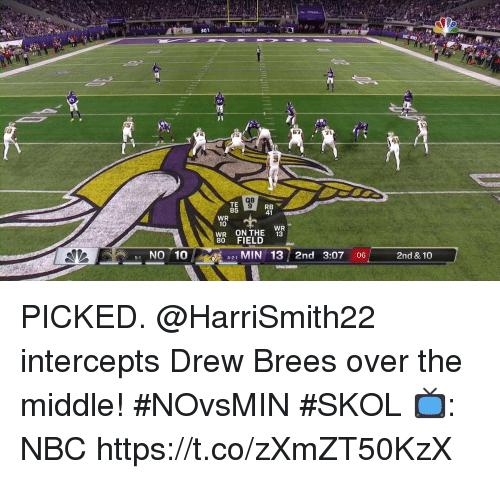 Memes, Drew Brees, and The Middle: 301  10  QB  TE  85  WR  10  WR ONTHE  80 FIELD  WR  13  1 NO 10  41 MIN 13 2nd 3:07 :06  2nd & 10  4-2-1 PICKED.  @HarriSmith22 intercepts Drew Brees over the middle! #NOvsMIN #SKOL  📺: NBC https://t.co/zXmZT50KzX