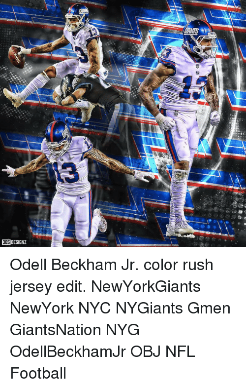 reputable site 99c93 a68d2 305 DESIGNZ Any Odell Beckham Jr Color Rush Jersey Edit ...