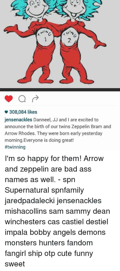 308084 Likes Jensenackles Danneel JJ and I Are Excited to