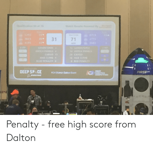 Free, Space, and Deep: 31  71  DEEP SPACE PCH Dishict Dation Event  FİRS Penalty - free high score from Dalton