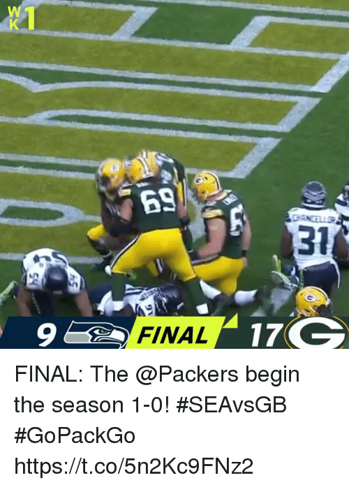 Memes, Packers, and 🤖: 31  9  FINAL FINAL: The @Packers begin the season 1-0! #SEAvsGB #GoPackGo https://t.co/5n2Kc9FNz2