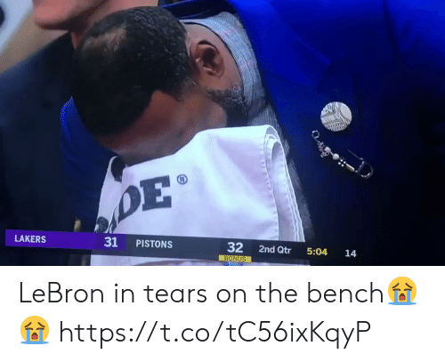 Los Angeles Lakers, Memes, and Lebron: 31 PISTONS  32 2nd Qtr 5:04 14  LAKERS  BONUS LeBron in tears on the bench😭😭 https://t.co/tC56ixKqyP