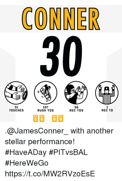 Memes, Rush, and 🤖: 31  TOUCHES  107  RUSH YDS  56  REC YDS  1  REC TD  WKWK .@JamesConner_ with another stellar performance! #HaveADay #PITvsBAL  #HereWeGo https://t.co/MW2RVzoEsE