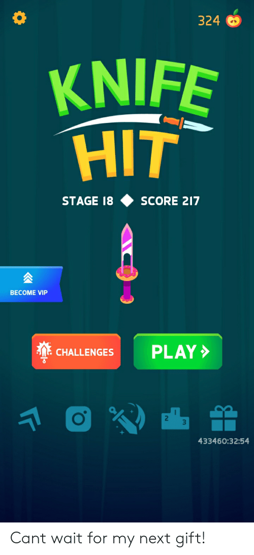 Next, Vip, and Play: 324  KNIFE  HIT  STAGE 18  SCORE 217  BECOME VIP  PLAY  CHALLENGES  433460:32:54 Cant wait for my next gift!