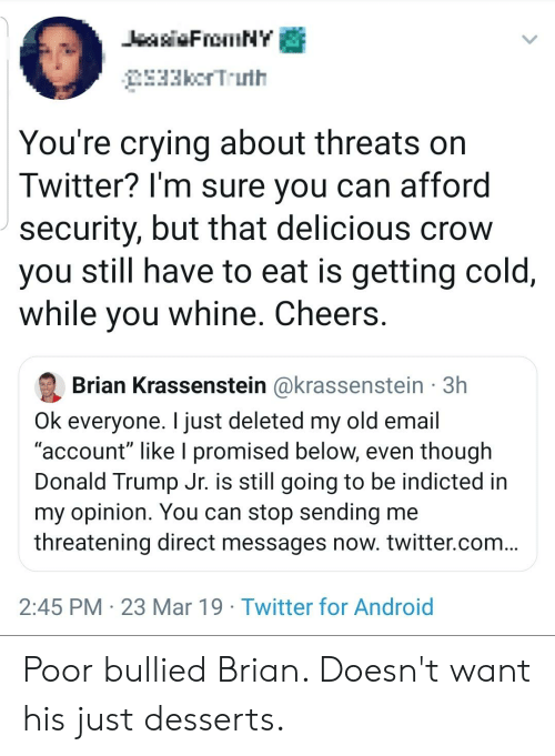 "Android, Crying, and Donald Trump: 33kcrT..uth  You're crying about threats on  Twitter? l'm sure you can afford  security, but that delicious crow  you still have to eat is getting cold,  while vou whine. Cheers  Brian Krassenstein @krassenstein 3h  Ok everyone. I just deleted my old email  ""account"" like I promised below, even though  Donald Trump Jr. is still going to be indicted in  my opinion. You can stop sending me  threatening direct messages now. twitter.com  2:45 PM 23 Mar 19 Twitter for Android Poor bullied Brian. Doesn't want his just desserts."
