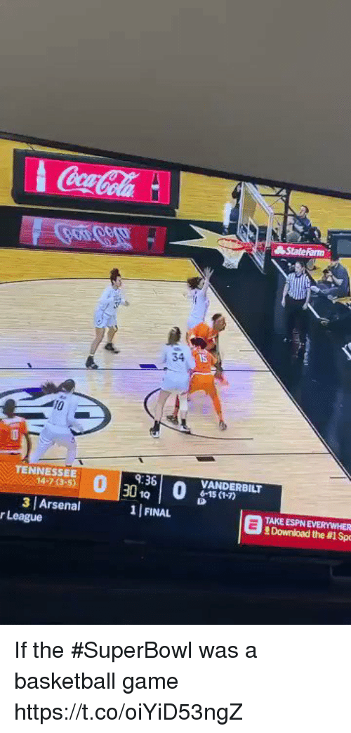 Arsenal, Basketball, and Espn: : 34  15  TENNESSEE  14-7 (3-5)  9:36  VANDERBILT  6-15 (1-7)  3 Arsenal  1 FINAL  TAKE ESPN EVERYWHER  Download the #1 Sp  r League If the #SuperBowl was a basketball game https://t.co/oiYiD53ngZ