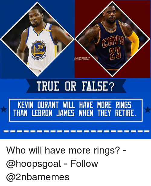 Kevin Durant, LeBron James, and Nba: 35  29  @HOOPSGOAT  TRUE OR FALSE?  KEVIN DURANT WILL HAVE MORE RINGS  THAN LEBRON JAMES WHEN THEY RETIRE Who will have more rings? - @hoopsgoat - Follow @2nbamemes