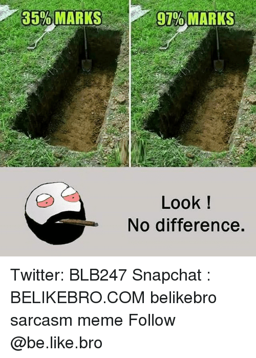 Be Like, Meme, and Memes: 35%MARKS  97% MARKS  Look!  No difference. Twitter: BLB247 Snapchat : BELIKEBRO.COM belikebro sarcasm meme Follow @be.like.bro