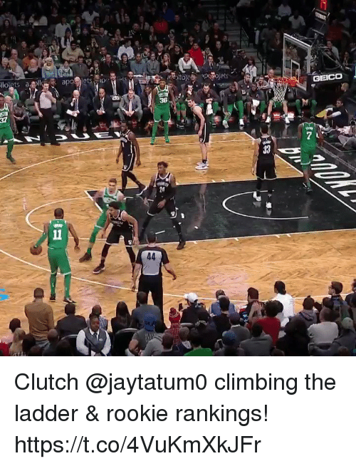 Climbing, Memes, and 🤖: 36  24 Clutch @jaytatum0 climbing the ladder & rookie rankings! https://t.co/4VuKmXkJFr