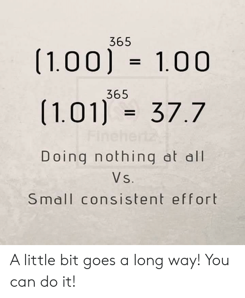 Can, All, and You: 365  (1.00) 1.00  365  (1.01) 37.7  Fine  Doing nothing at all  Vs.  Small consistent effort A little bit goes a long way! You can do it!