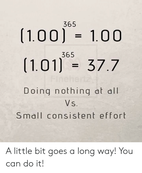 Can, All, and You: 365  (1.00) 1.00  365  (1.01) 37.7  Finel  Doing nothing at all  Vs.  Small consistent effort A little bit goes a long way! You can do it!