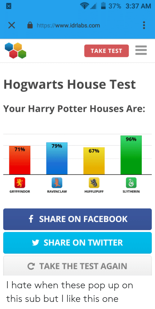harry potter test for house