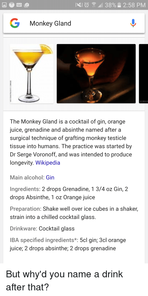 38% 258 PM Monkey Gland the Monkey Gland Is a Cocktail of Gin Orange