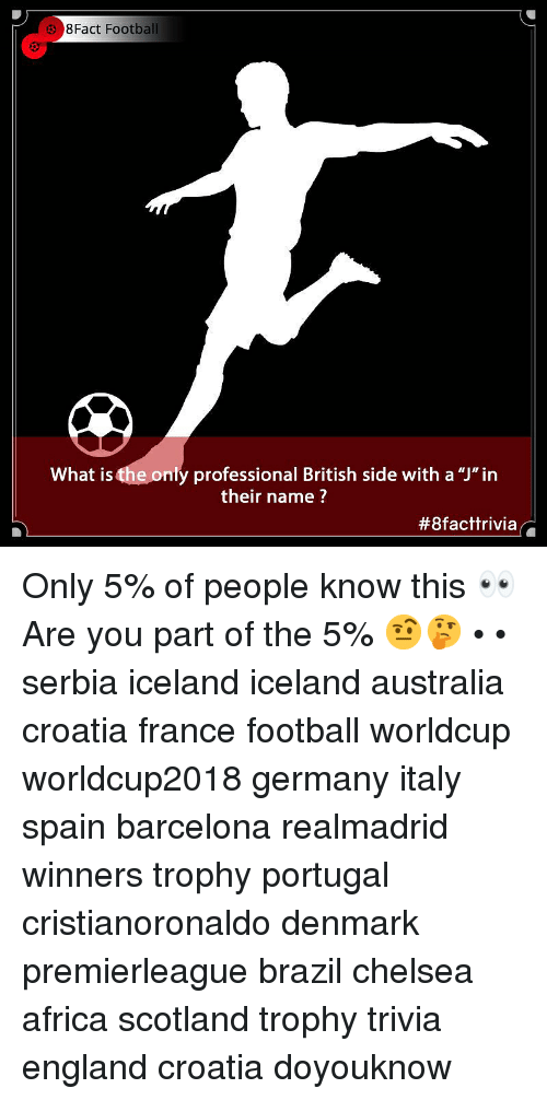 """Africa, Barcelona, and Chelsea: 38Fact Football  What is the only professional British side with a """"J""""in  their name ?  Only 5% of people know this 👀 Are you part of the 5% 🤨🤔 • • serbia iceland iceland australia croatia france football worldcup worldcup2018 germany italy spain barcelona realmadrid winners trophy portugal cristianoronaldo denmark premierleague brazil chelsea africa scotland trophy trivia england croatia doyouknow"""