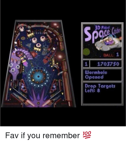 Funny, Target, and Balling: 3D Pinball  1  BALL  1 1703750  Wormhole  Opened  Drop Targets Fav if you remember 💯
