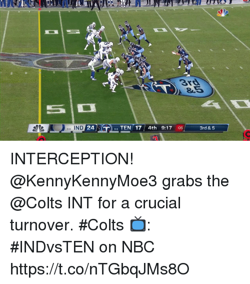 Indianapolis Colts, Memes, and 🤖: 3rd  8.5  e-6 IND  24  96 TEN 17 4th 9:17 :05  3rd & 5 INTERCEPTION!  @KennyKennyMoe3 grabs the @Colts INT for a crucial turnover. #Colts  📺: #INDvsTEN on NBC https://t.co/nTGbqJMs8O