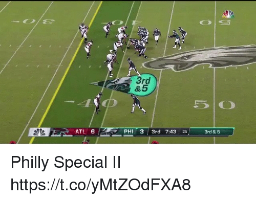 Sizzle: 3rd  ATL 6  PHI 3 3rd 7:43 25  3rd & 5 Philly Special II  https://t.co/yMtZOdFXA8