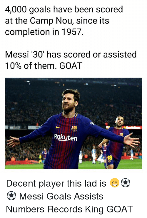 Goals, Memes, and Goat: 4,000 goals have been scored  at the Camp Nou, since its  completion in 1957  Messi '30' has scored or assisted  10% of them. GOAT  Rakuten  18 Decent player this lad is 😁⚽️⚽️ Messi Goals Assists Numbers Records King GOAT