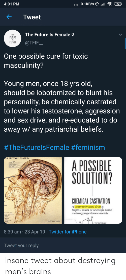 Brains, Feminism, and Future: 4:01 PM  KTweet  The Future Is Female  THE  FUTURE  IS  FEMALE  @TFIF  One possible cure for toxic  masculinity?  Young men, once 18 yrs old,  should be lobotomized to blunt his  personality, be chemically castrated  to lower his testosterone, aggression  and sex drive, and re-educated to do  away w/ any patriarchal beliefs  #TheFuturelsFemale #feminism  SS SECTION PLATE D  A POSSIBLE  SOLUTION?  21  CHEMICAL CASTRATION  A commonly used drug is  Depro-Povera or scientific name  medraxyprogesterone acetate  23  8:39 am 23 Apr 19 Twitter for iPhone  Tweet your reply Insane tweet about destroying men's brains