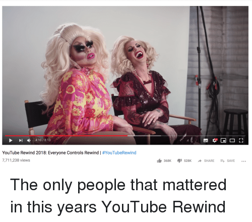 youtube.com, Share, and This: 4:10/8:13  YouTube Rewind 2018: Everyone Controls Rewind | #YouTubeRewind  7,711,238 views  lb 368K ,1528K -SHARE-+  SAVE The only people that mattered in this years YouTube Rewind