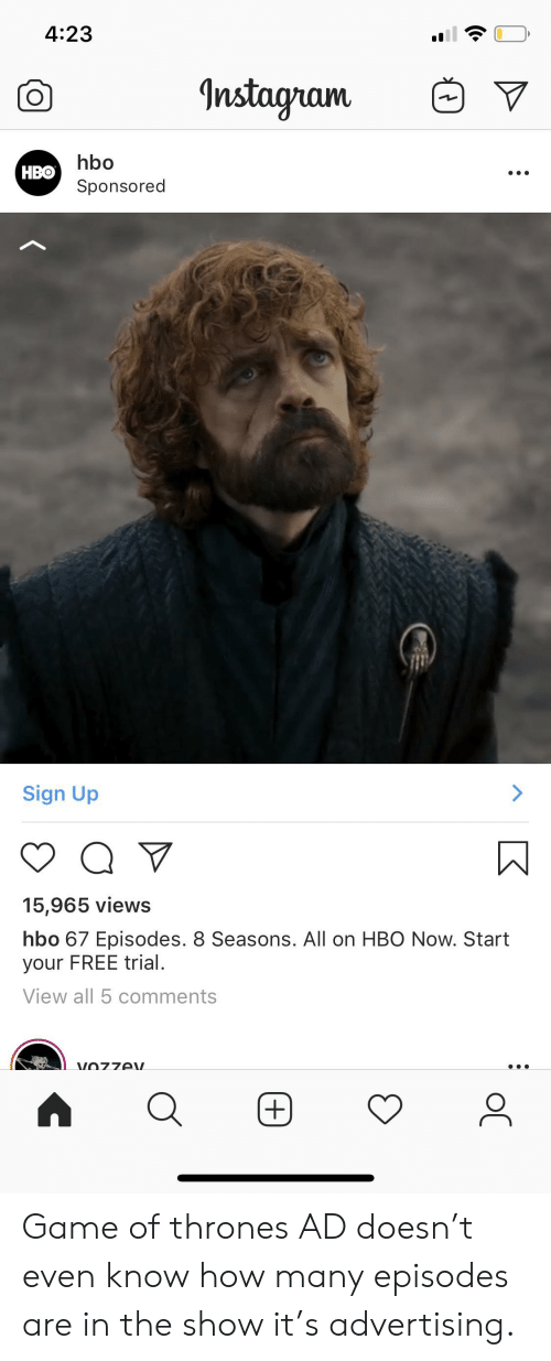 423 Instagram Hbo НВо Sponsored Sign Up Q 15965 Views Hbo 67