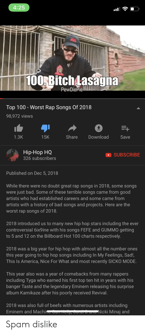 425 100Bitch Asagna PewDiePielM Top 100 - Worst Rap Songs of 2018