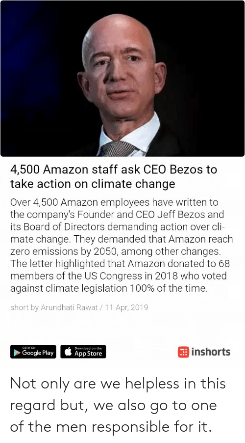 4500 Amazon Staff Ask CEO Bezos to Take Action on Climate Change