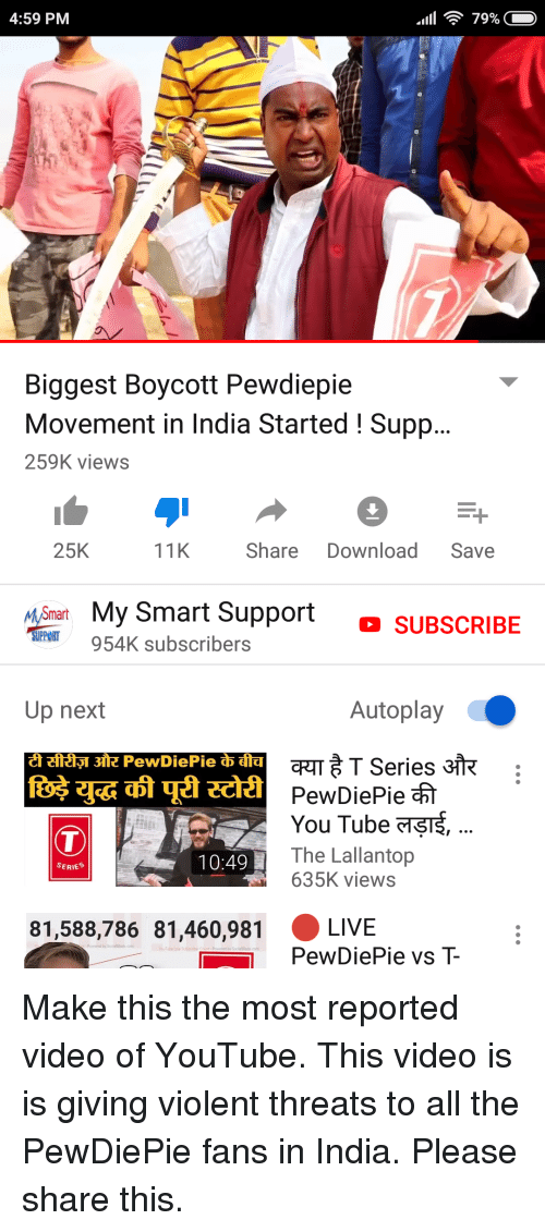 840a8a75a 459 PM Biggest Boycott Pewdiepie Movement in India Started ! Supp ...
