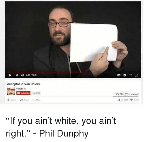 White, Skin, and You: 4)  639 , 10:44  Acceptable Skin Colors  Vsauce  ,012  15,703.256 views <p>''If you ain't white, you ain't right.'' - Phil Dunphy<br/></p>