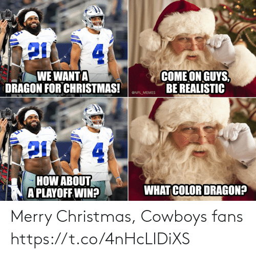 Christmas, Dallas Cowboys, and Football: 4.  COME ON GUYS,  BE REALISTIC  WE WANT A  DRAGON FOR CHRISTMAS!  @NFL_MEMES  4.  HOW ABOUT  A PLAYOFF WIN?  WHAT COLOR DRAGON? Merry Christmas, Cowboys fans https://t.co/4nHcLIDiXS