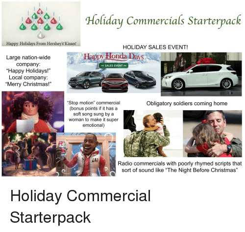 Hershey Kisses Christmas Commercial.4 Holiday Commercials Starterpack Happy Holidays From
