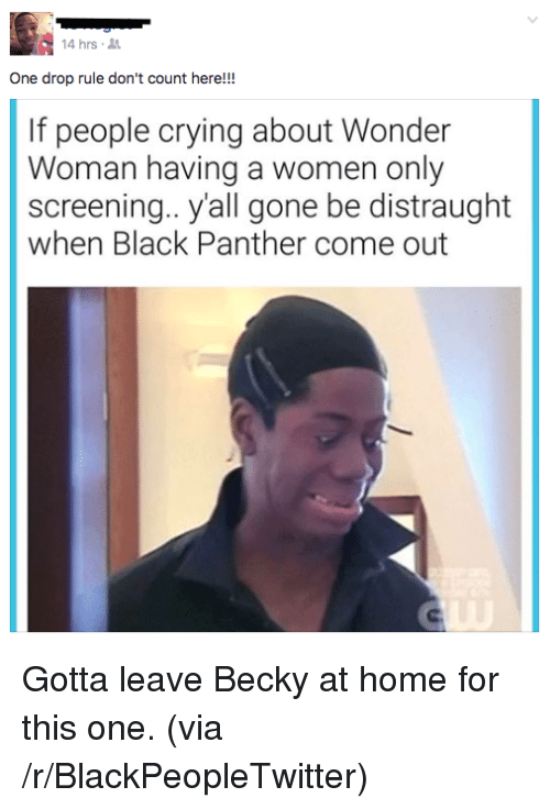 Blackpeopletwitter, Crying, and Black: 4 hrs  One drop rule don't count here!!!  If people crying about Wonder  Woman having a women only  screening.. yall gone be distraught  when Black Panther come out <p>Gotta leave Becky at home for this one. (via /r/BlackPeopleTwitter)</p>