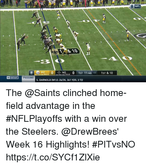 Memes, Nfl, and New Orleans Saints: 4  O NFL  810  0,  N012-21 0 1ST 11:46 11: 1ST & 10  PIT  18-5-11  FANTASY  PASSING  S. DARNOLD (NYJ): 24/35, 341 YDS, 3 TD The @Saints clinched home-field advantage in the #NFLPlayoffs with a win over the Steelers.  @DrewBrees' Week 16 Highlights! #PITvsNO https://t.co/SYCf1ZlXie