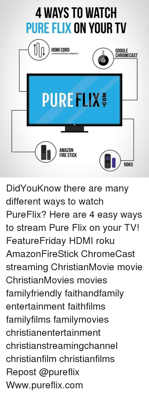 4 WAYS TO WATCH PURE FLIX ON YOUR TV HDMI CORD GOOGLE