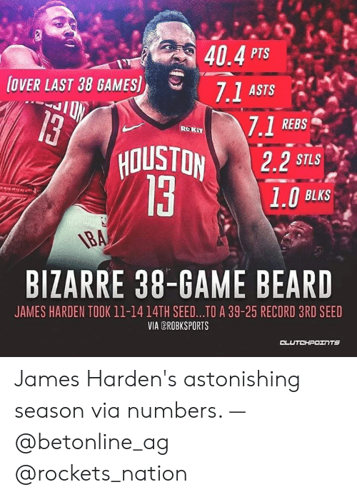 Beard, James Harden, and Game: 40.4 PTS  7.1 ASTS  OVER LAST 38 GAMES]  7.1 REBS  HOUSTON 2.2 S7  ROKIT  STLS  BLKS  BIZARRE 38-GAME BEARD  JAMES HARDEN TOOK 11-1414TH SEED...TO A 39-25 RECORD 3RD SEED  VIA EROBKSPORTS James Harden's astonishing season via numbers. — @betonline_ag @rockets_nation
